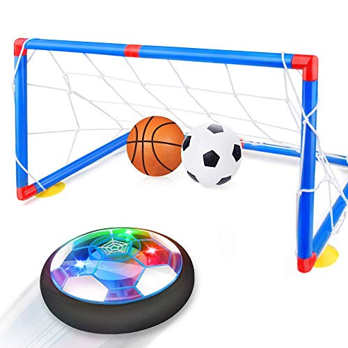 Growsland Kids Toys Hover Soccer Ball with Goal Set Gift Boys Girls Age 3,4,5,6,7,8-12 Year Old Rechargeable Air Power Football Sport Ball Game Colorful LED Light Foam Bumper Indoor Outdoor Soccer Toy