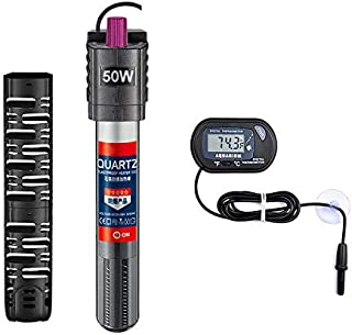 Sukeen Aquarium Heater with Extra Thermometer,50W 100W 300W Fish Tank Heater Adjustable Temperature for Auto Thermostat,Shatter-Proof and Blast-Proof