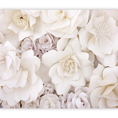 murando Fototapete 3D Effekt 400x280 cm Vlies Tapeten Wandtapete XXL Moderne Wanddeko Design Wand Dekoration Wohnzimmer Schlafzimmer Büro Flur Blumen Natur beige b-C-0725-a-a