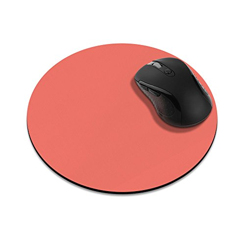 Non-Slip Round Mousepad, FINCIBO Solid Peach Blossom Pink Mouse Pad for Home, Office and Gaming Desk