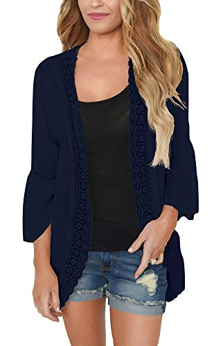 PRETTODAY Women's Summer Kimono Cardigans Ruffle Bell Sleeve Sweaters Lace Cover Up Loose Blouse Tops Navy Blue