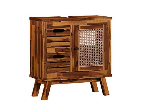 Woodkings® Waschbeckenunterschrank Surabaya Holz Akazie Rattan Waschtischunterschrank massiv Badmöbel Badezimmer Badezimmerschrank Badschrank Bad Unterschrank Massivholz