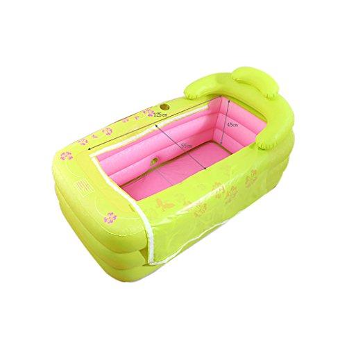 lyy Baignoire gonflable épaisse pliable d'adultes de Bath de double baignoire, baignoire gonflable de piscine d'enfants, rose vert ( Couleur : A )