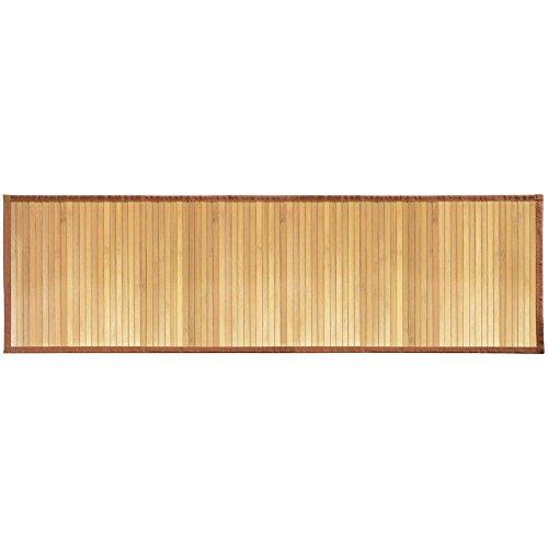 iDesign Tappeto antiscivolo, Tappetino bagno di bambù idrorepellente, Ampio tappeto bagno adatto anche ad altri ambienti come la cucina e il corridoio, marrone chiaro