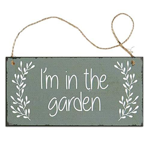 Hankyky Garden Series en bois pendentif Tag plante verte motif en bois pendentif Plaque en bois signe Bienvenue Plaque