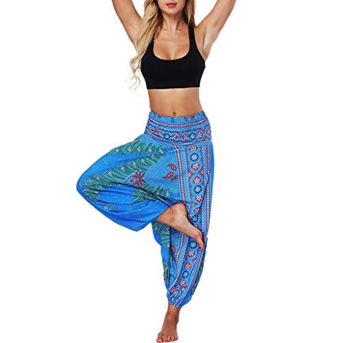 Pantalones Hippies Mujer, Tailandeses Estampado Verano Cintura Alta Elastica para Yoga Casual Hippie Bohemia Gitana EláStica Pantalones Dragon868 Verano 2020