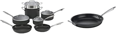 Cuisinart Dishwasher Safe Hard-Anodized 11-Piece Cookware Set, Black & Dishwasher Safe Hard-Anodized 12-Inch Open Skillet with Helper Handle