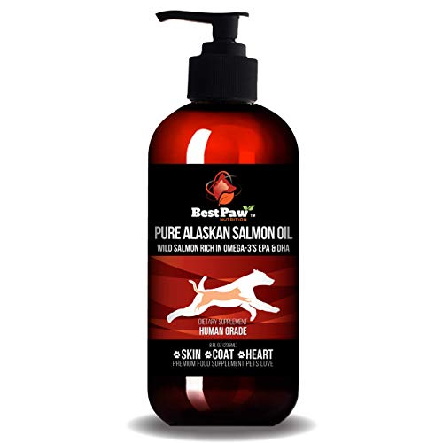 Best Paw Nutrition Pure Alaskan Salmon Oil for Dogs, Cats & Ferrets - Liquid Supplement for Joint Pain Relief - Soft Skin & Shiny Coat - Omega 3 Fish Oil Pets Love - 8oz