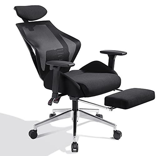 DEVAISE Ergonomics Recliner Office Chair, High Back Mesh Computer Desk Chair with 3D Armrest Adjustable Headrest Lumbar and Footrest Support
