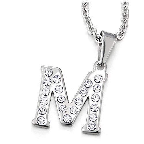 COOLSTEELANDBEYOND Nombre Inicial Letra del Alfabeto M Colgante con Circonio Cúbico, Collar de Mujer, Acero Inoxidable, 50cm Cadena Cuerda