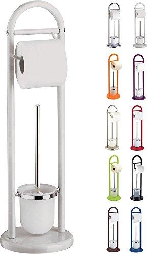 SANWOOD WC-Bürstengarnitur mit Papierrollenhalter, Metall, weiß, 19 x 63 x 19 cm