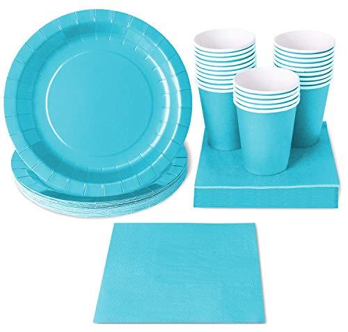 Einweggeschirr Party-Set von Juvale- Für 24 Personen - Inklusive Pappteller, Papierservietten, Pappbecher - Für jede Party, Kindergeburtstag, Fasching, Babyshower - Hellblau
