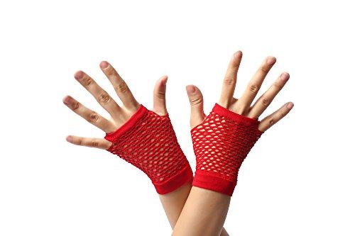 Dress ME UP - RH-005-red Guantes de Red Rojos sin Dedos Cortos los años 80 Punk rockero Wave gótico EMO