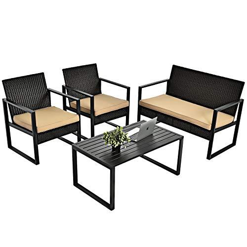 Tangkula 4-Piece Patio Rattan Furniture Set, Outdoor Conversation Set w/Seat Cushions & Coffee Table, Sturdy Metal Frame, Sectional Wicker Sofa Set for Garden, Backyard, Poolside (1, Light Brown)