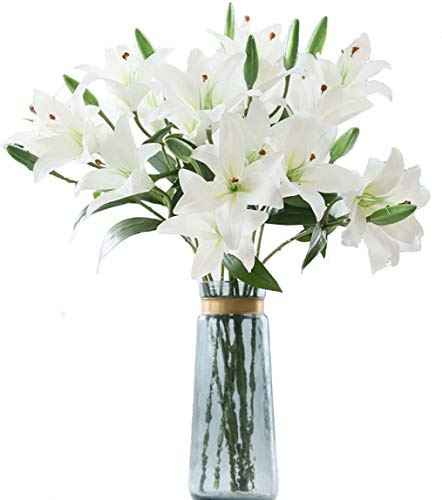 LNHOMY 6 Pack Artificial Lily Flowers Full Bloom Fake Latex Real Touch Artificial Flower Bouquets with 3 Heads Wedding Party Decor Home Decor, (White)