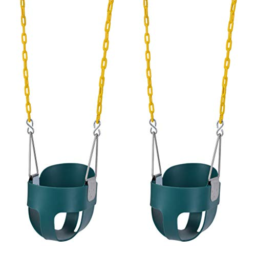 Lovely Snail Toddler Swing Seat High Back Full Bucket Swings 2 Pack Outdoor with 66' Heavy Duty...