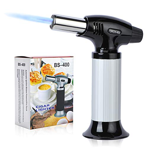 ORNOOU Butane Torch, Refillable Culinary Torch, Adjustable Kitchen Food Torch Lighter for Creme Brulee, BBQ, Baking, Desserts and Crafts (Butane Gas Not Included), Silver