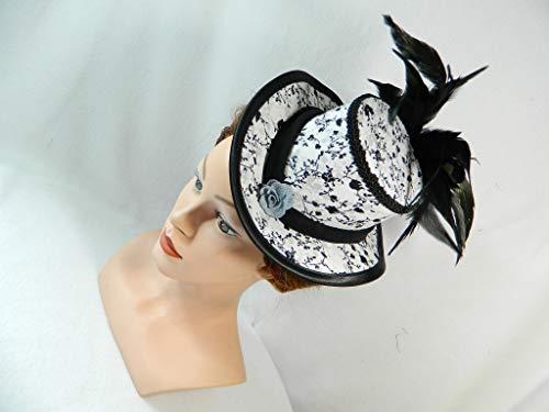 Midi Damen Zylinder schwarz weiß Blumen Damenhut Ausgehhut Huetchen Kopf-Schmuck