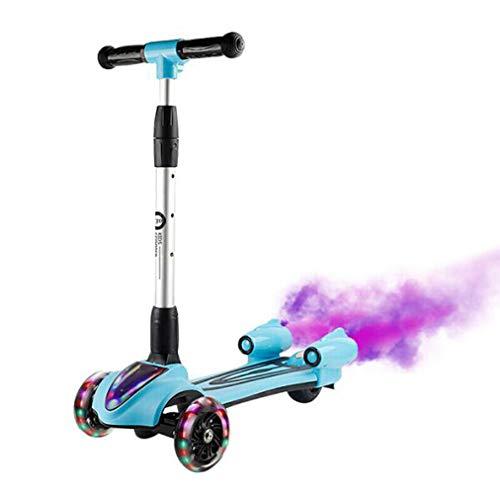 Pixier Little Kids Dreirad-tretroller Roller Scooter - Perfekt Für Kinder Ab 2 Jahren - Led-leuchträder, Faltbares Design, Verstellbare Griffe Dynamische Sprühmusik/Blue