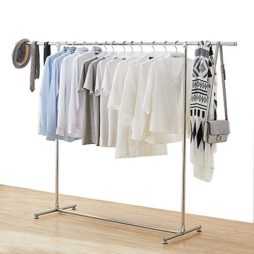Jolitac Stabiler Kleiderständer Garderobenständer Kleiderstange Auf Rollen Höhenverstellbar 80kg, Länge 120-200 cm, verchromtes Metall