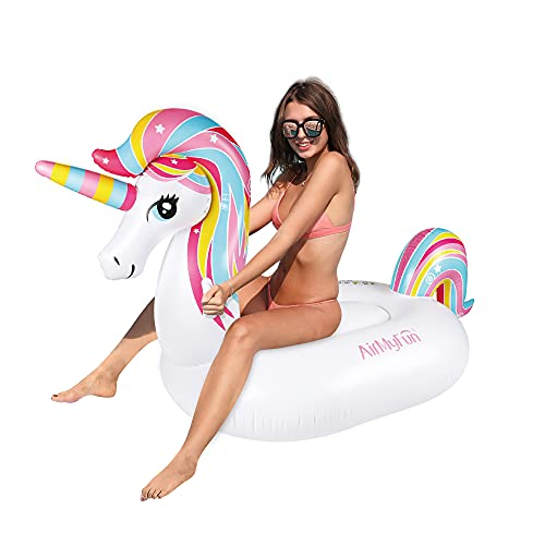 AirMyFun Inflatable Unicorn Swimming Pool Float, Giant Ride On Pool Raft 91x39x51 inches, Summer...