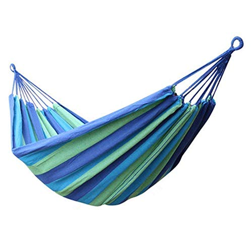 P-Plus International Outdoor Camping Canvas Fabric Portable Garden Hammocks Striped Ultralight Outdoor Beach Swing Bed with Strong Rope,Swing for Garden (280 * 80CM, Blue)
