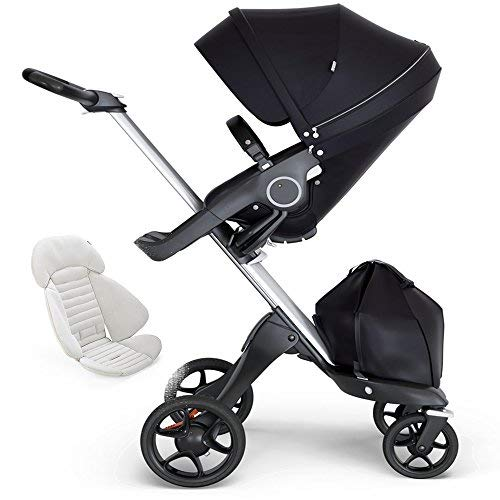 Find Discount Stokke Xplory Silver Chassis, Seat - Black/Black Leatherette Handle & Seat Inlay - Gre...
