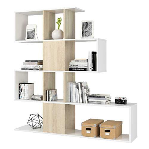 MarinelliGroup Libreria scaffale Multiuso Zig Zag Bianco e Rovere con Ripiani 145 X 29 X 145 cm Salone Studio Camera - 1F2251A