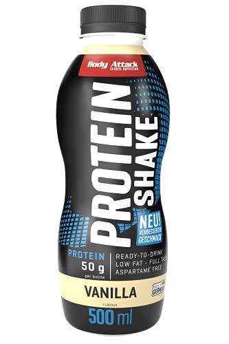 Body Attack High Protein Shake, Milch-Eiweiß, Fertigdrink in 500ml Flasche, Vanilla (6 x 500ml)