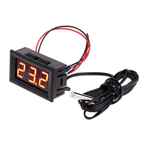 Manyo 1 x LED-Anzeige für Thermometer, digital, tragbar, Temperaturmessgerät, für Fahrzeug, DC 12 V, 50 ~ 110 °C, Kunststoff, rot, 48 * 29 * 23MM