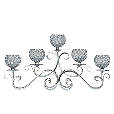 Crystal Candle Holders, 5 Arms Candelabra Home Holiday Decorative Centerpiece for Wedding Birthday Festival Dining Coffee Table
