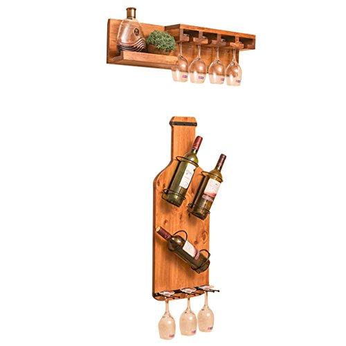 Wine Shelf Wall Mount Pine Wood Wine Bottle Rack | Shelf Holder Wine Holder Hanging Wine Goblet Shelf Storage Unit Floating Shelf Organiser Countertop for Restaurants, Bars, Daily Home