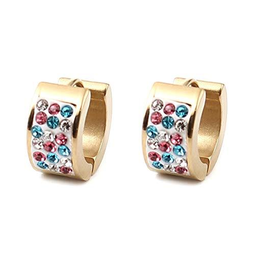 Hot Orecchini a cerchio in acciaio inossidabile per gioielli da donna Colore argento Accessori giornalieri rotondi 14mm Dia.1 paio