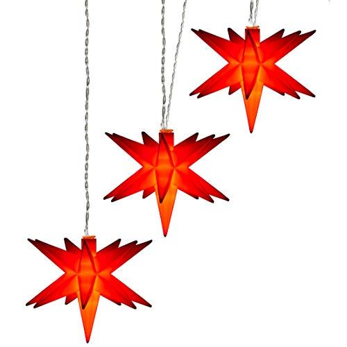 AMARE LED stjärna 3 kedja röd diameter på stjärnorna 15 cm, kedjans längd 1,5 m (ca 1 m tillförsel), LED färg varmvit, CE-kontrollerad, för inomhus- och utomhusbruk, timer