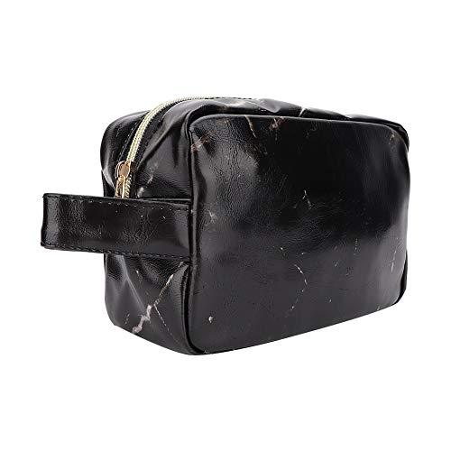Sac cosmétique - trousse de maquillage, sac à main cosmétique de stockage de cuir d'unité centrale portatif (Couleur : Black)