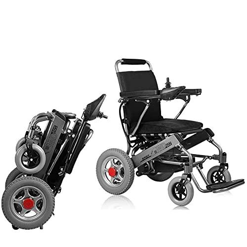 AWJ sillas de Ruedas Sillas de Ruedas eléctricas, Coche Plegable Ancianos Discapacitados Asistencia para Personas Mayores Compacto Inteligente Automático Scooters de Movilidad portátiles 🔥