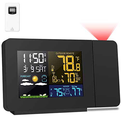 Kalawen Projection Alarm Clock with Outdoor Sensor, Personal Weather...