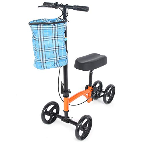 Estink Knie-Scooter, Alternative zu Krücken Knie-Rollator, Kniescooter drehbar 180 Grad klappbar, Knie Walker mit Hinterradbremse, Stabil und Fest, Sicher und Langlebig
