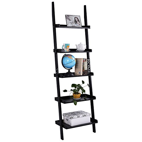 Tangkula Ladder Bookcase 5-Tier Wood Leaning Shelf Wall Plant Shelf Ladder for...