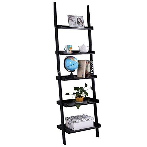 TANGKULA Ladder Bookcase 5-Tier Wood Leaning Shelf Wall Plant Shelf Ladder for Home Office Modern Flower Book Display Shelf Storage Rack Stable A-Frame Wooden Ladder Shelf (Black)