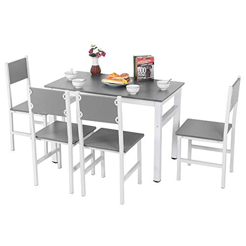 Juego de mesa de comedor de madera con 4 sillas, juego de mesa simple y moderno para comedor, sala de estar, cocina, juego de muebles de comedor de material de acero de madera maciza resistente