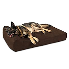 Big Barker 7″ Pillow Top Orthopedic Dog Bed – XL Size – 52 X 36 X 7 – Chocolate – For Large and Extra Large Breed Dogs (Headrest Edition)