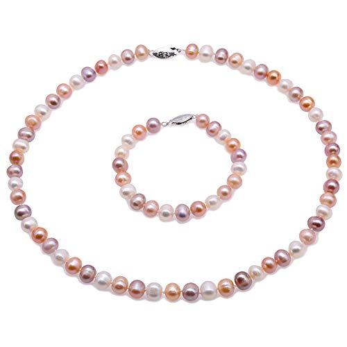 Jyx multicolore perla collana di perle d' acqua dolce collana e braccialetto set donne gioielli set (8-9 mm)