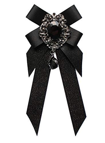 Cheerlife Fashion Schleifenbrosche mit Strass Fliege Bogen Halsband Bow-Knoten Kragen Brosche Schleife Schwarz