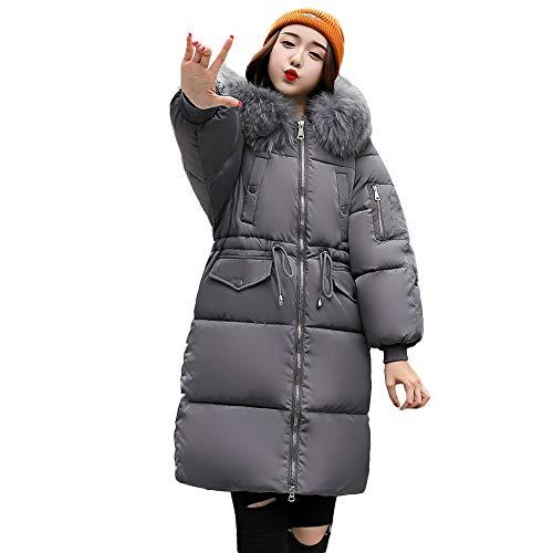 Women Winter Long Parkas Coat Jackets with Faux Fur Hood Plus Size Warm Slim Overcoat DBolomm