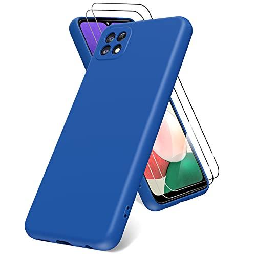 Vansdon Funda Compatible con Samsung Galaxy A22 5G, 2 Unidades Protector Pantalla Cristal Templado, Silicona Líquida Gel Ultra Suave Funda- Azul