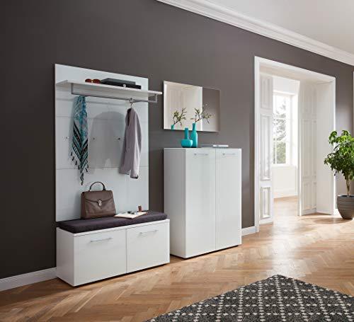 ambiato Saskia 5-TLG.garderobeset 2 met schoenenbank, zitkussen, garderobepaneel, schoenenkast en spiegel in wit