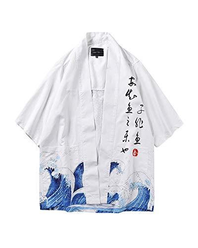 Chaqueta Haori De Verano Capa Japonesa para Hombre Abrigo Cardigan Kimono Hippie Ropa como Imagen L
