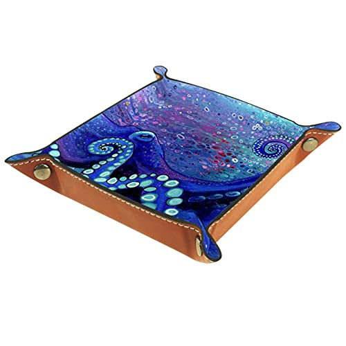 Blue-octopus-melissa-hood Hihihihi Bandeja de escritorio de piel de microfibra práctica caja de almacenamiento para carteras llaves y equipos de oficina, caja de almacenamiento de gafas