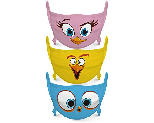 Angry Birds Kids Face Mask Reusable Cloth Face Masks Set (Pack of 3) Pink, Yellow, Blue